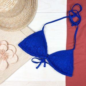 NEW Aerie Triangle Bikini Top Royal Blue